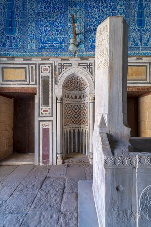 Tomb of Ibrahim Agha Mustahfizan, attached to the Mosque of Aqsunqur (Blue Mosque), Bab El Wazir district, Old Cairo, Egypt Stock Photo - 133071407