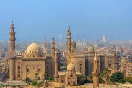 Aerial view of Cairo city from Salah Al Deen Citadel (Cairo Citadel) with Al Sultan Hassan and Al Rifai Mosques, Cairo, Egypt Stock Photo - 133071469