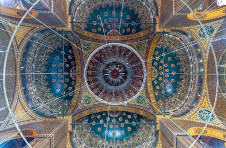 Ceiling of the great Mosque of Muhammad Ali Pasha (Alabaster Mosque) decorated with golden and blue floral patterns, situated in the Citadel of Cairo in Egypt Stock Photo - 133071471