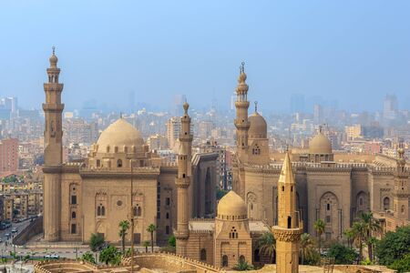 Aerial view of Cairo city from Salah Al Deen Citadel (Cairo Citadel) with Al Sultan Hassan and Al Rifai Mosques, Cairo, Egypt Stock Photo - 133071865