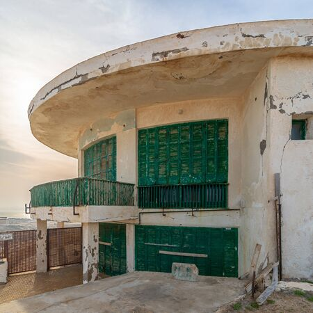 Alexandria, Egypt - April 29 2018: External shot of an old house by the Mediterranean Sea at Montaza park, known as the villa of Mr Hussein El Shafei late vice president of Egypt Stock Photo - 133071919