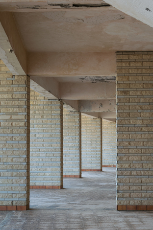 Background of row of sequential stone brick walls Stock Photo - 127441242
