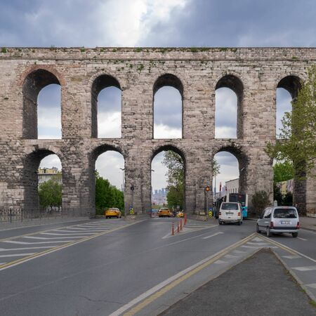 Istanbul, Turkey - April 21, 2017: Valens Aqueduct a Roman aqueduct which was the major water providing system of the Eastern Roman capital of Constantinople (Currently Istanbul) Stock Photo - 133072166