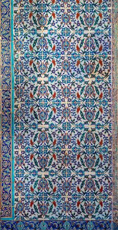 Ottoman style glazed ceramic tiles decorated with floral ornamentations manufactured in Iznik, Turkey located at Historic Manial Palace of Prince Mohammed Ali, Cairo, Egypt Stock Photo - 133072288