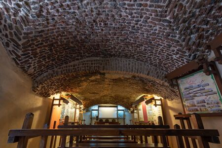 Hall at the basement of the House of Egyptian Architecture historical building with bricks arched ceiling, Cairo, Egypt Stock Photo - 133072289