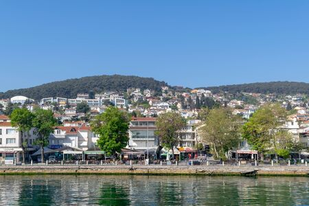 View of Heybeliada island from the sea with summer houses. the island is the second largest one of four islands named Princes Islands in the Sea of Marmara, near Istanbul, Turkey Stock Photo - 133072291