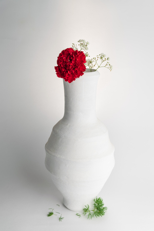 Still life composition of white pottery vase and red flower on white background Stock Photo - 127441476
