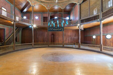 Cairo, Egypt- April 1 2018: Whirling Dervishes Ceremony hall at the Mevlevi Tekke, an old abandoned meeting hall for the Sufi order and Whirling Dervishes Stock Photo - 133072756