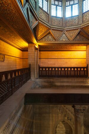 Interior of Nilometer building, an ancient Egyptian water measurement device dates from 715 AD, used to measure the level of river Nile, located in Rhoda Island, River Nile, Cairo, Egypt Stock Photo - 133072766