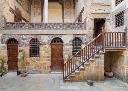 Courtyard of ottoman historic Beit El Set Waseela building (Waseela Hanem House), located near to Al-Azhar Mosque in Darb Al-Ahmar district, Old Cairo, Egypt Stock Photo - 127467274