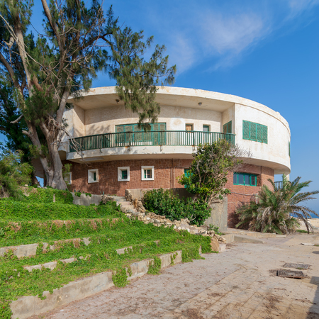 External shot of an old house by the Mediterranean Sea at Montaza park, Alexandria, known as the villa of Mr Hussein El Shafei late vice president of Egypt Stock Photo - 127467297