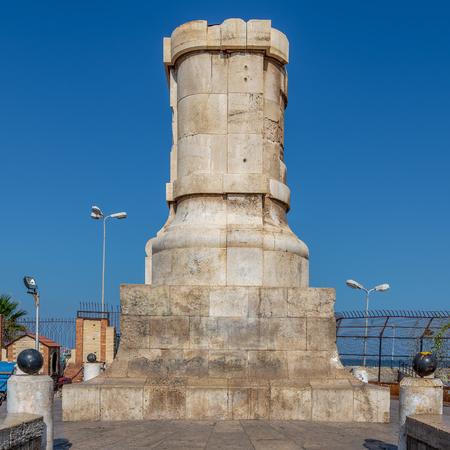 Ferdinand de Lesseps statue base at the entrance of Suez Canal, Port Said, Egypt
