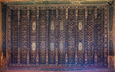 Wooden ceiling decorated with floral pattern decorations at ottoman historic Beit El Set Waseela building (Waseela Hanem House), Old Cairo, Egypt Stock Photo - 127467306