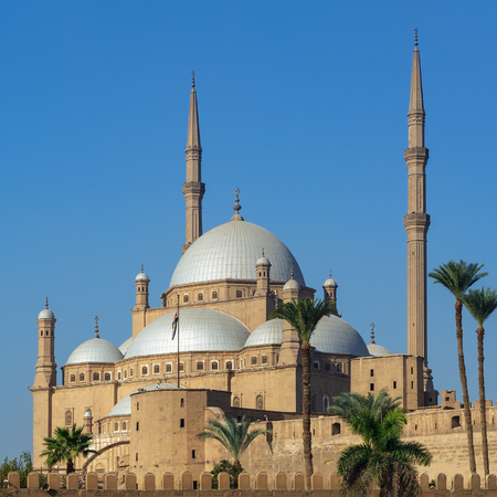 Ottoman style Great Mosque of Muhammad Ali Pasha (Alabaster Mosque), situated in the Citadel of Cairo, commissioned by Muhammad Ali Pasha, one of the landmarks of Cairo, Egypt Stock Photo - 127467572