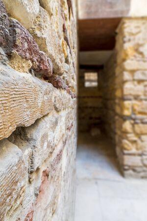 Blurred shot of old abandoned stone bricks passage, Old Cairo, Egypt Stock Photo - 132305998
