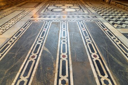 Marble floor decorated with geometrical patterns at Sultan al Ghuri Mausoleum, Cairo, Egypt Stock Photo - 131871132