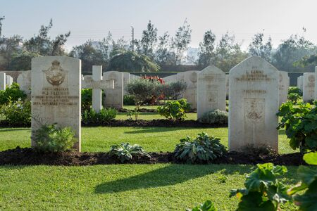 Cairo, Egypt - December 7, 2016: Heliopolis Commonwealth War Cemetery, contains 1742 burials of the Second World War, opened in October 1941 Stock Photo - 133073816