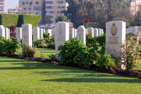 Cairo, Egypt - December 7, 2016: Heliopolis Commonwealth War Cemetery, contains 1742 burials of the Second World War, opened in October 1941 Stock Photo - 133073817