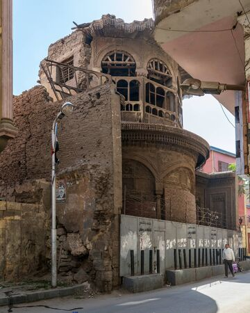 Cairo, Egypt- January 16 2016: Ruined abandoned Sabil and Kuttab Ruqayya Dudu historic building, located at Darb Al Ahmar district, Old Cairo Stock Photo - 133073941
