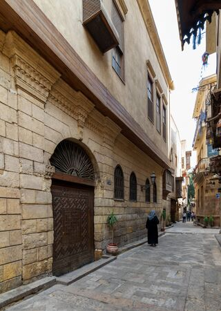 Cairo, Egypt- November 19 2016: Darb Asfour Lane with facade of Bayt Al-Suhaymi old historic house located in Gamalia district, Medieval Cairo Stock Photo - 133074417