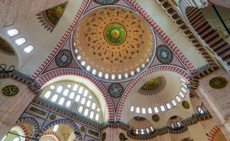 Decorated ceiling at Sultan Ahmed Mosque - Blue Mosque - showing the main big dome, Istanbul, Turkey Stock Photo - 132306728