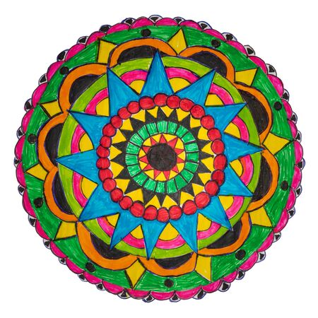 Colorful oriental decorative hand drawn mandala pattern with clipping path Stock Photo - 133246633