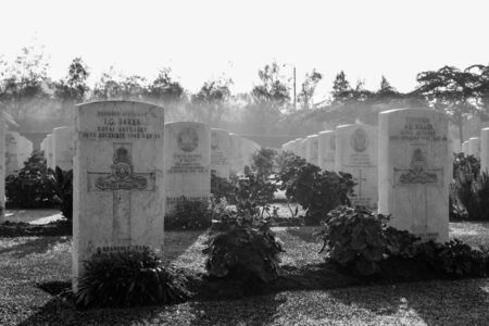 Cairo, Egypt - December 7, 2016: Heliopolis Commonwealth War Cemetery, contains 1742 burials of the Second World War, opened in October 1941 Editorial