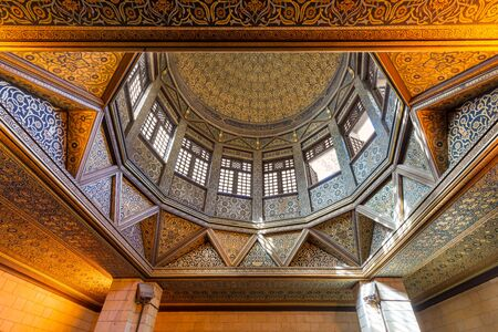 Ceiling of Nilometer building, an Umayyad era Egyptian water measurement construction dates from 715 AD, used to measure the level of the Nile, located in Roda Island, River Nile, Cairo, Egypt Stock Photo - 135592652