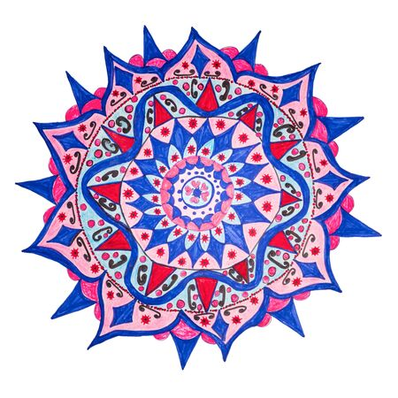 Colorful oriental decorative hand drawn mandala pattern, includes tiny objects resembles Corona Coovid 19 Virus, isolated on white with clipping path