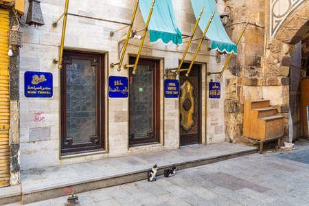 Cairo, Egypt- June 26 2020: Modern famous Naguib Mahfouz coffeehouse, located in historic Mamluk era Khan al-Khalili famous bazaar and souq, closed during coronavirus lockdown