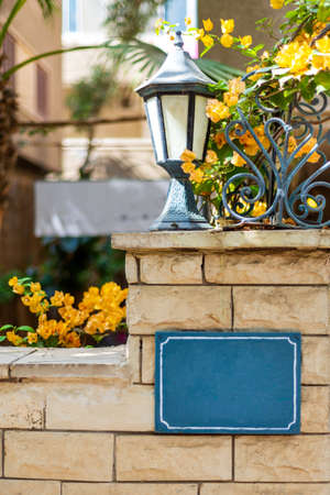 Shabby brick fence with signboard and street lantern in urban garden with blooming yellow flowers on sunny day