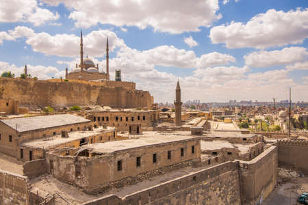 Day shot of Great Mosque of Muhammad Ali Pasha - Alabaster Mosque - located in the Citadel of Cairo in Egypt, commissioned by Muhammad Ali Pasha, one of the landmarks and tourist attractions of Cairo