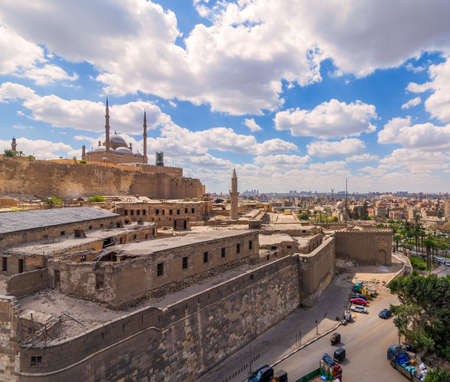 Day shot of Great Mosque of Muhammad Ali Pasha, located in the Citadel of Cairo in Egypt, commissioned by Muhammad Ali Pasha, one of the landmarks and tourist attractions of Cairo Stock Photo