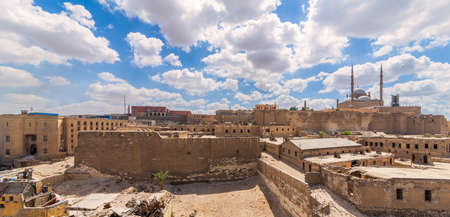 Day panoramic view of Cairo Citadel Square, including The great Mosque of Muhammad Ali Pasha, Citadel prison, and Egyptian National Archive Building, Old Cairo, Egypt Stock Photo