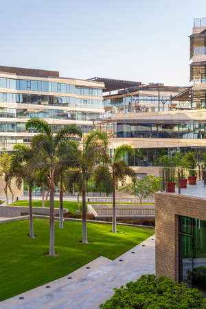 Contemporary urban city district with well run glass building and verdant lawn and trees before sunset Stock Photo