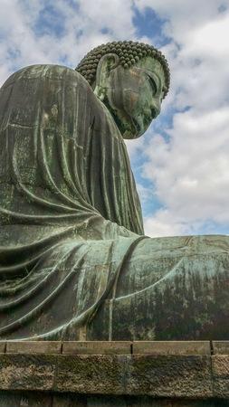 Famous Kamakura big bronze Buddha, buddhistic symbol