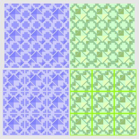 4 patterns and tile design elements 向量圖像