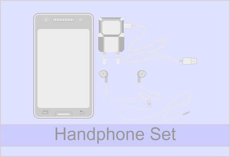 Handphone Set, with Charger and Head Phone Ilustração