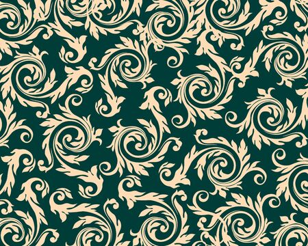 Vintage floral pattern design. Intersecting stylized leaves, branches and scrolls forming. vector Ilustrace