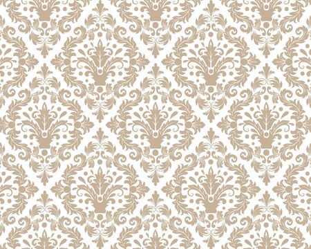 Vintage wallpaper in the Baroque style. Beautiful ornament for fabric, Ornate damask flower ornament. vector