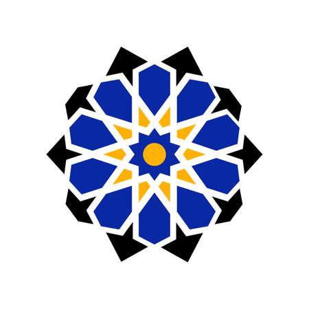 Vector geometric lattice mandala in arabic style. Traditional islamic design. Mosque decoration element. Vector Illustration