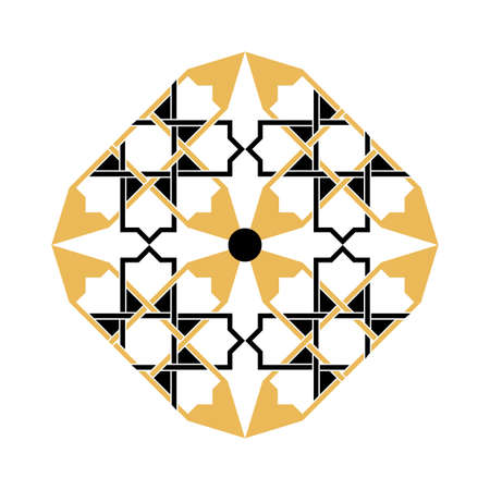 Arabic floral frame. Traditional islamic design. Mosque decoration element. Background elegant style. Vector Illustration Illusztráció