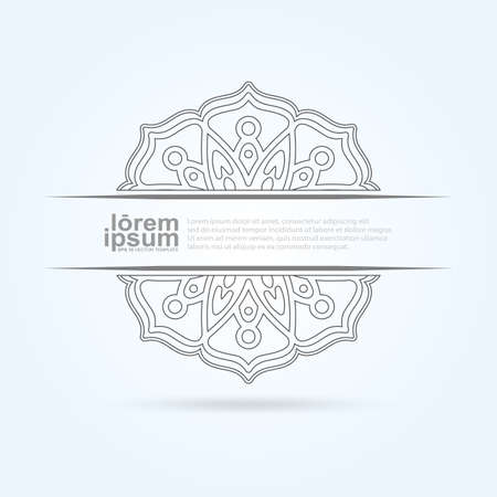 Arabic ornament design. Beautiful element with text  for invitations and cards. Vector Template Illusztráció