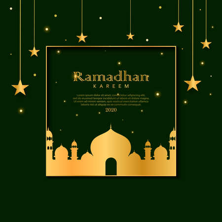 Elegant ramadan framed card design. Ramadan kareem background. vector illustration