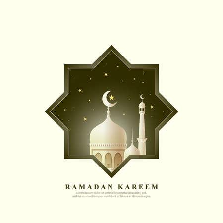 Ramadan kareem with mosque background. vector template Illusztráció