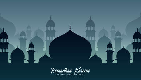 Mosques silhouettes. Ramadan kareem background. vector
