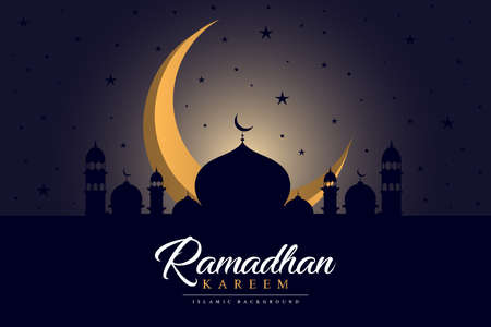 Ramadan Kareem islamic design crescent moon and mosque dome. vector