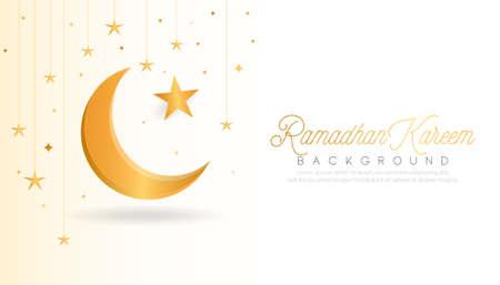 Beautiful ramadan kareem background with golden moon design. vector