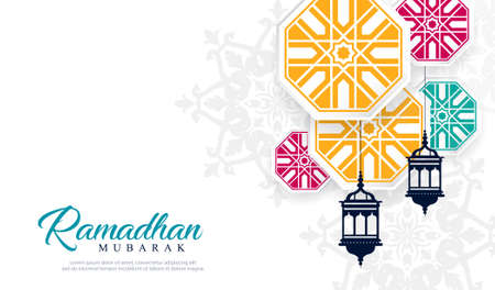 Ramadan mubarak decorative lamps with islamic design. vector template