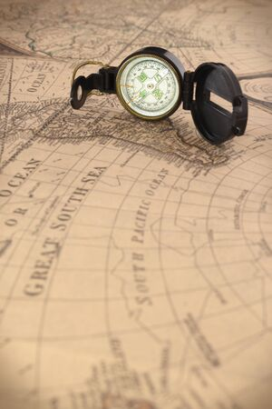 Compass on vintage map 写真素材